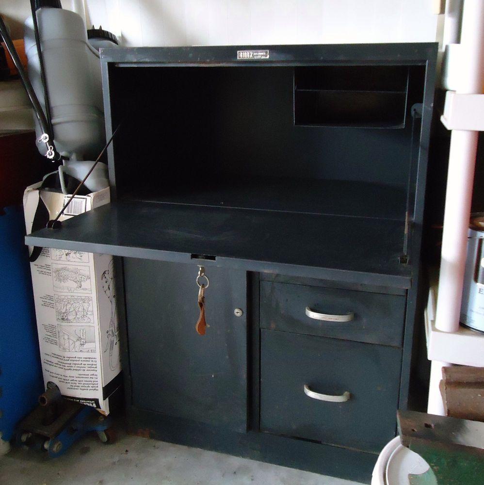 Vtg Metal Industrial Fold Out Desk / File Cabinet / Storage #FelixSteelProductsCo