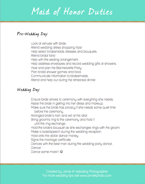 What Does A Maid Of Honor Do Here Are Few Things From My Bridesmaid Dutiesbridesmaid Checklistbridesmaidswedding