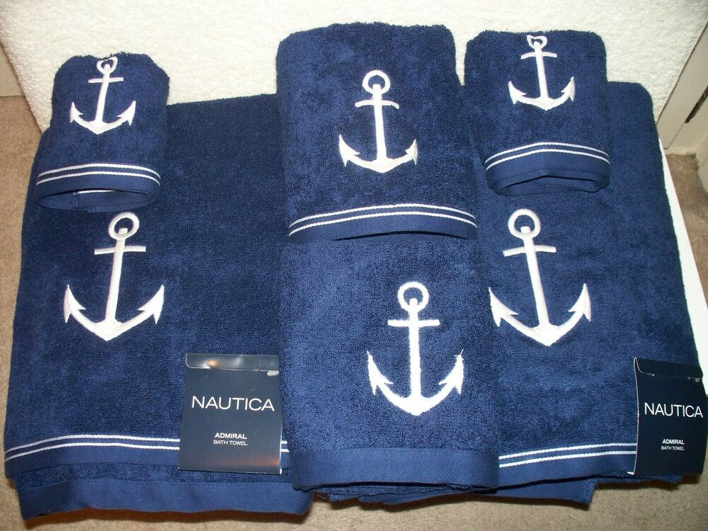 Ebay Sponsored New Nautica Anchor Admiral Blue 6 Pc Towels Set Nw Bath Hand Face Embroidered Towel Set Gray Towels Bath Towel Sets