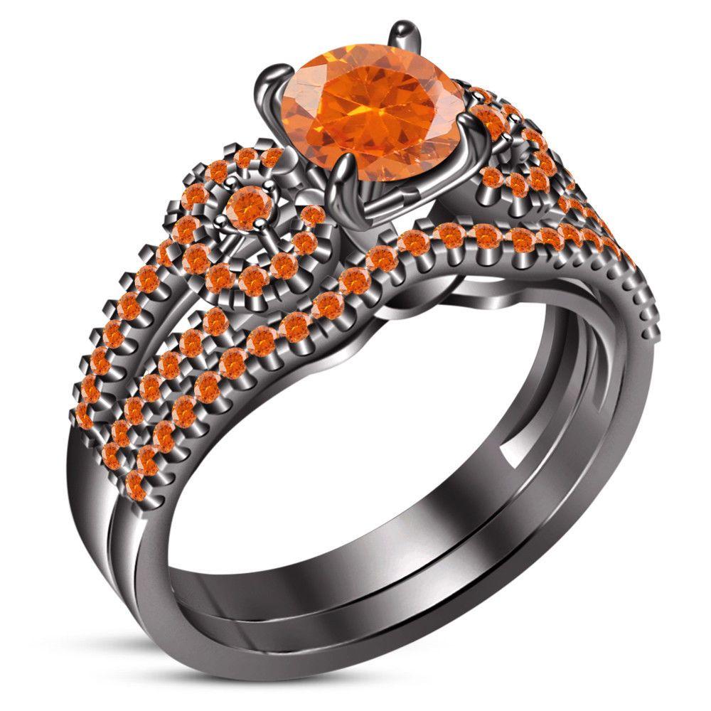 Round Orange Sapphire Women's Wedding Engagement Bridal