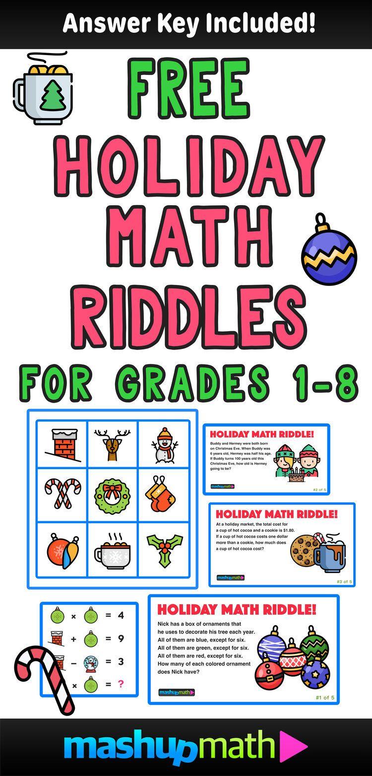 5 Fun Christmas Math Riddles And Brain Teasers For Grades 1 8 Mashup Math Holiday Math Christmas Math Holiday Math Worksheets
