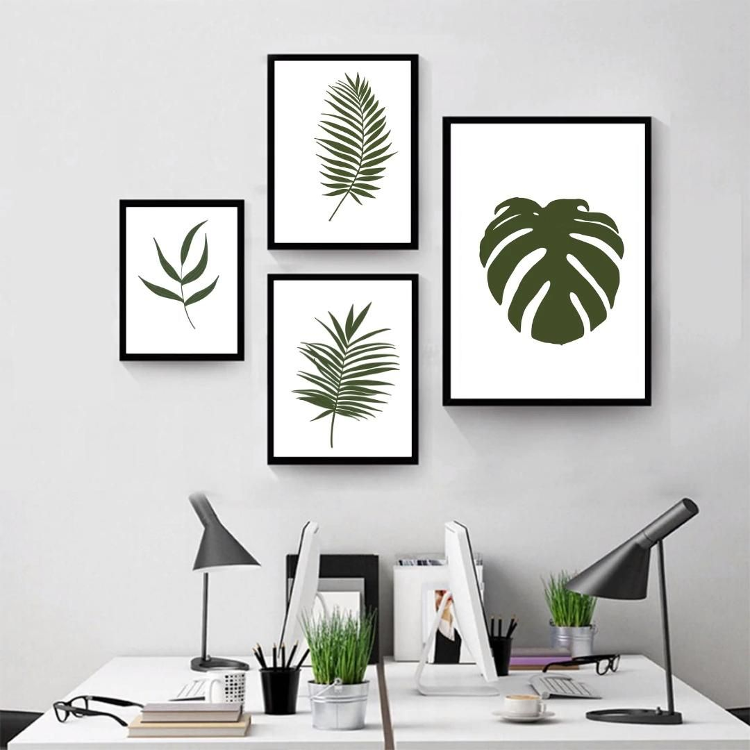 Photo of Set Of 4 Prints,Monstera Print,Tropical Leaf Print,Farmhouse Decor,Green Wall Art,Downloadable Prints,Plant Wall Decor,Botanical Print Set