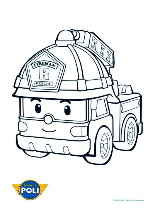 robocar Poli | Coloriage camion, Coloriage camion pompier, Coloriage pompier