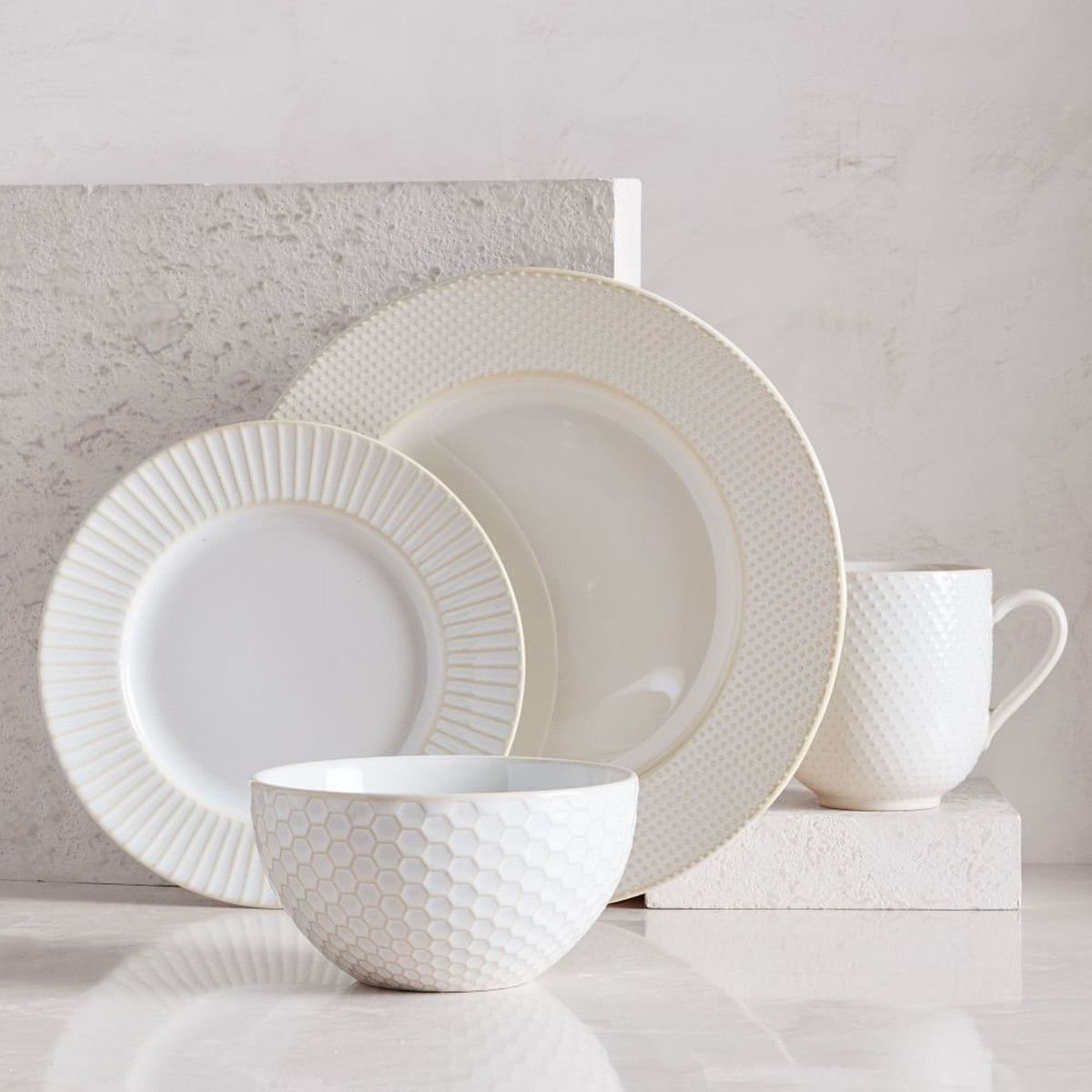 Textured West Elm White Dinnerware Stoneware Sets Mugs Set