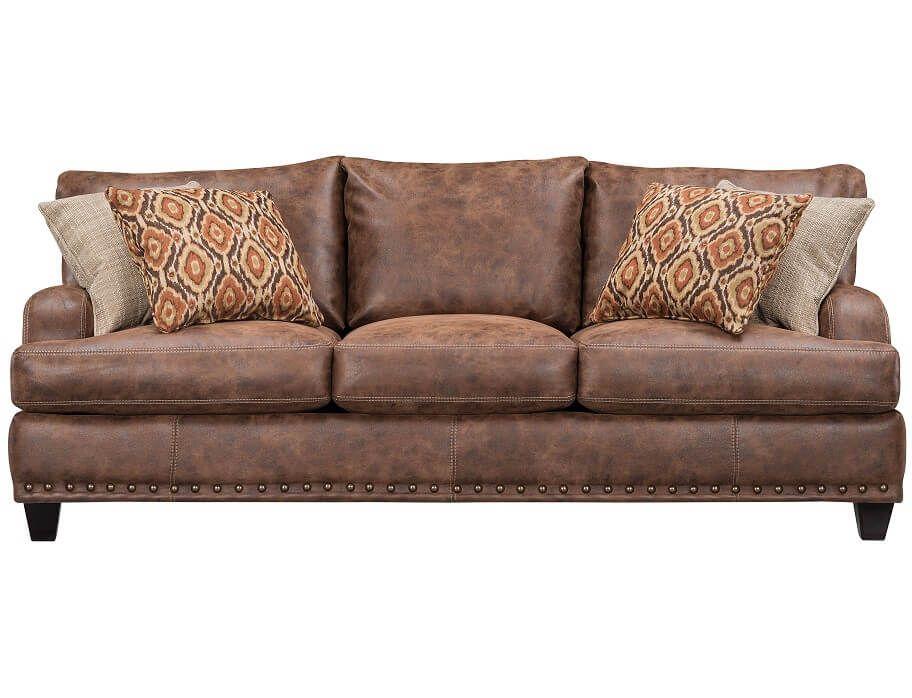 Slumberland Dexter Collection Walnut Sofa Walnut Sofa Faux Leather Sofa Sofa