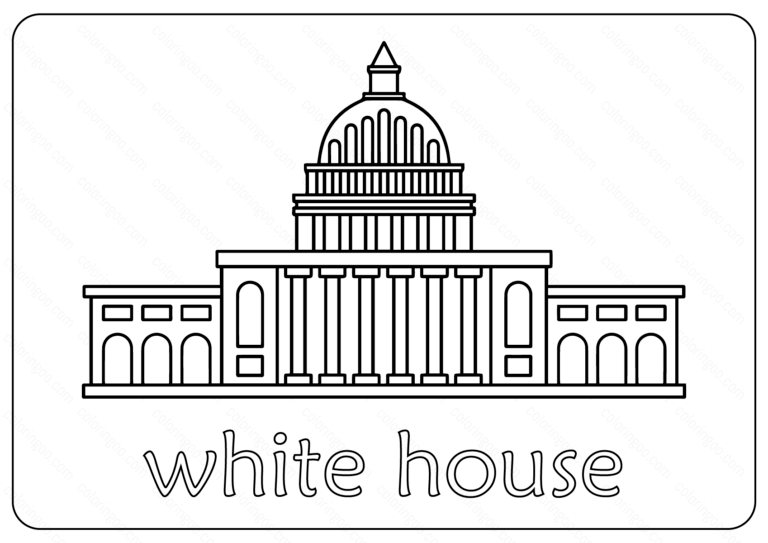 Free Printable White House Coloring Pages Vector White House Drawing House Colouring Pages House Colouring Pictures