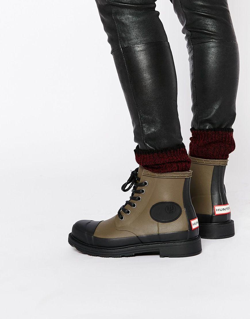 Buy Women Shoes / Hunter Original Bullseye Derby Khaki Lace Up Wellington Boots