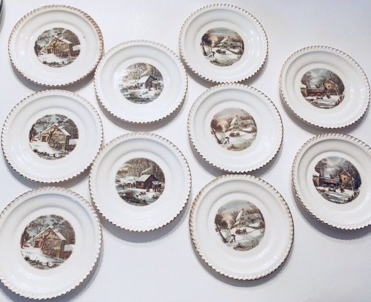 """10 Harkerware Currier & Ives 6 1/4"""" Various Plates w/22 Kt. Gold ..."""