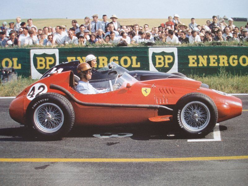 peter collins at the 1958 french grand prix in a ferrari dino 246 and jean behra in a brm p25. Black Bedroom Furniture Sets. Home Design Ideas
