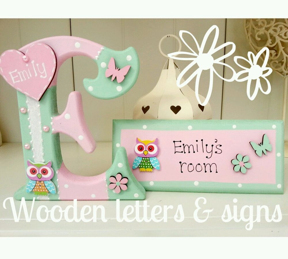 Handmade girls/boys freestanding wooden 150mm letter/name & matching room plaque | eBay