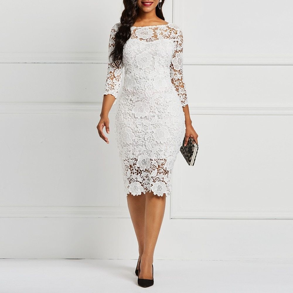 Women Evening Party Date White See Through Floral Lace Dress Price  3446  FREE Shipping
