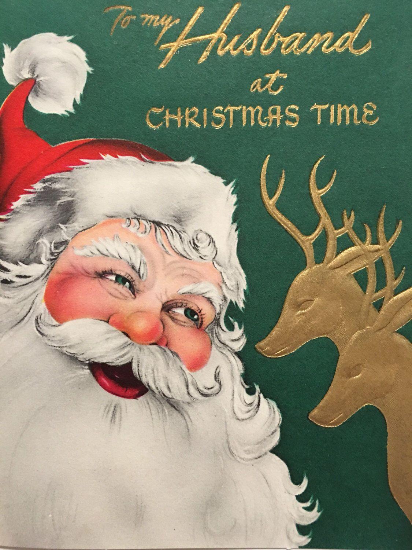 Vintage Christmas Card Husband Deer Santamid Century Altoid