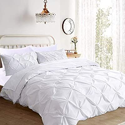 Amazon.com: Prime Linen - 100% Egyptian Cotton Ultrasoft 600 Thread Count with Zipper & Corner Ties Tuffed Pattern Decorative Pinch Pleated 3 Piece Duvet Cover Set (Queen, Pure White): Home & Kitchen