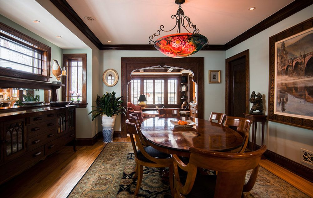 The Addition Renovation Of A St Foursquare In Paul Designed By Architects Newly Built Niche Was Added Dining Room To House An Antique Buffet