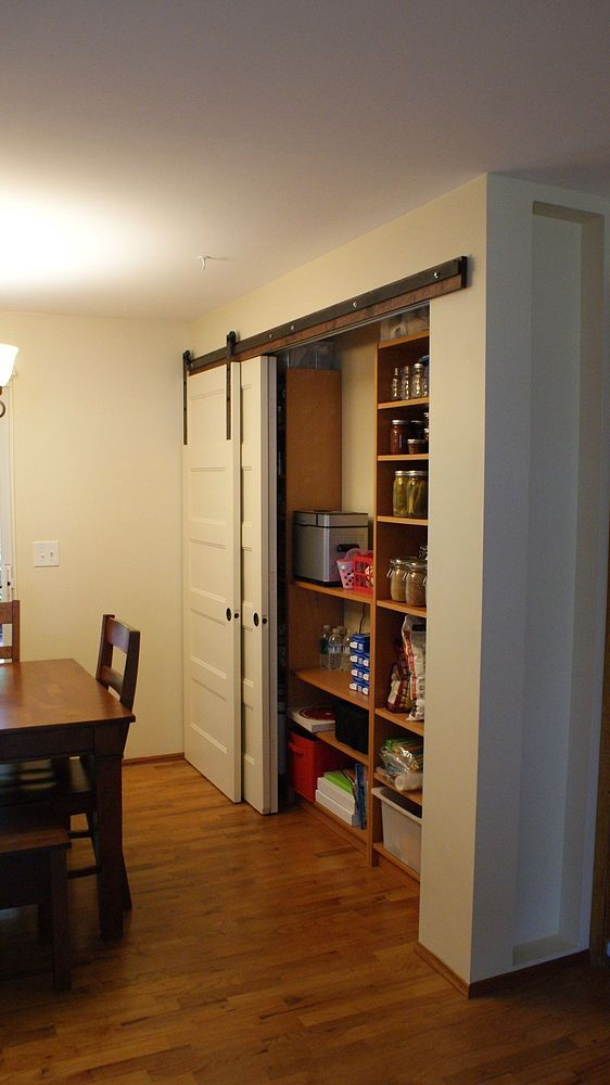 New Pantry Build With Sliding Barn Style Doors Budgetupgrade Barn Style Doors Closet Doors