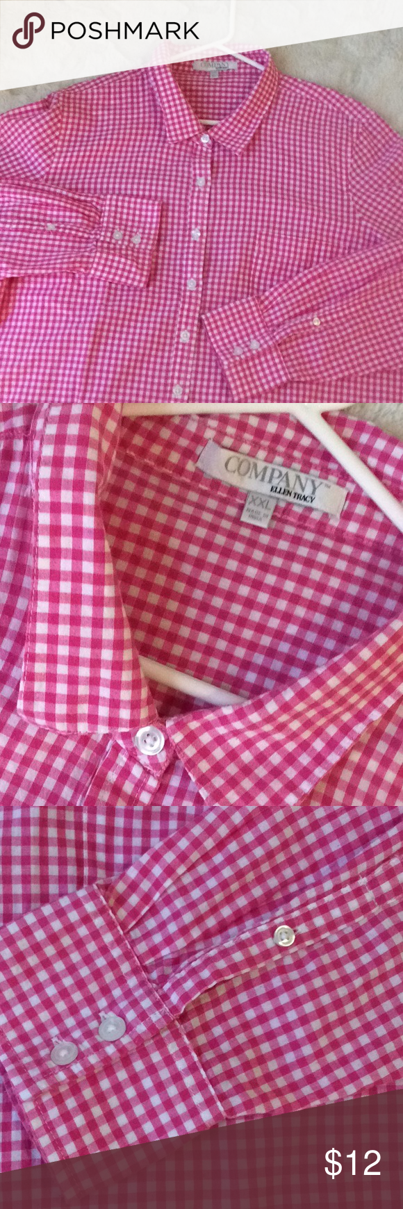 6ddd003170f70e Company Ellen Tracy Pink Gingham Shirt 100% cotton hot pink gingham shirt...what's  not to like!?!?🌸🌺🌷perfect year round! Ellen Tracy Tops Button Down ...