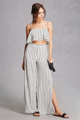 0190fc9d1aa9ef A striped crepe woven set featuring a cropped cami with a flounce  silhouette and an exposed back zipper