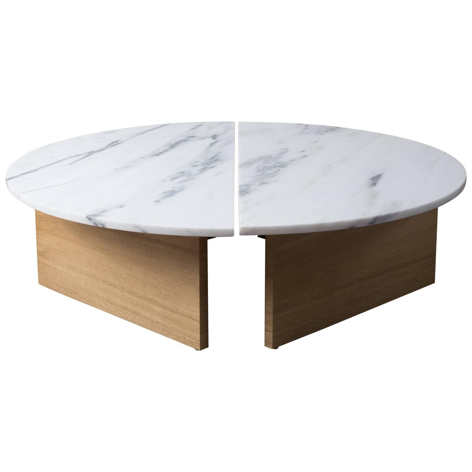 Charmant Contemporary Half Moon Coffee Table In Imperial Danby Marble And White Oak
