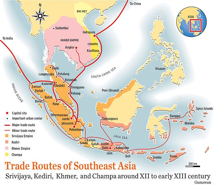 Southeast Asia Trade Route Map 12th C Landons Maps Pinterest