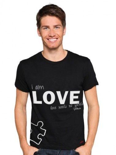 Peace Love World Love Needs No Words Autism Black Crew Neck Tee New Products Men