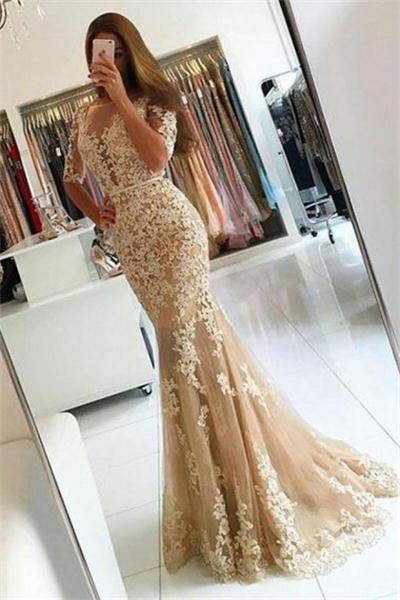 c150f4eecf77 Classy Open Back Long Lace Tulle Mermaid Modest Prom Dresses With Sleeves  Z0899