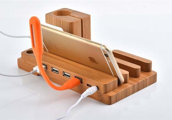 The Wooden Charging Station Boasts Integrated Le Watch Stand And 4 Usb Ports