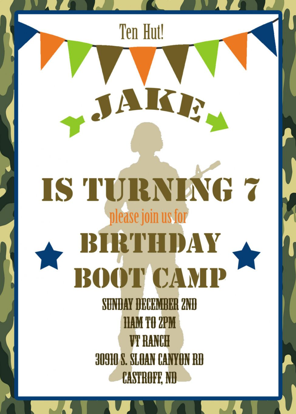 New 2018! Boot Camp Party Invitations 2K Buy Now https://www.zazzle ...