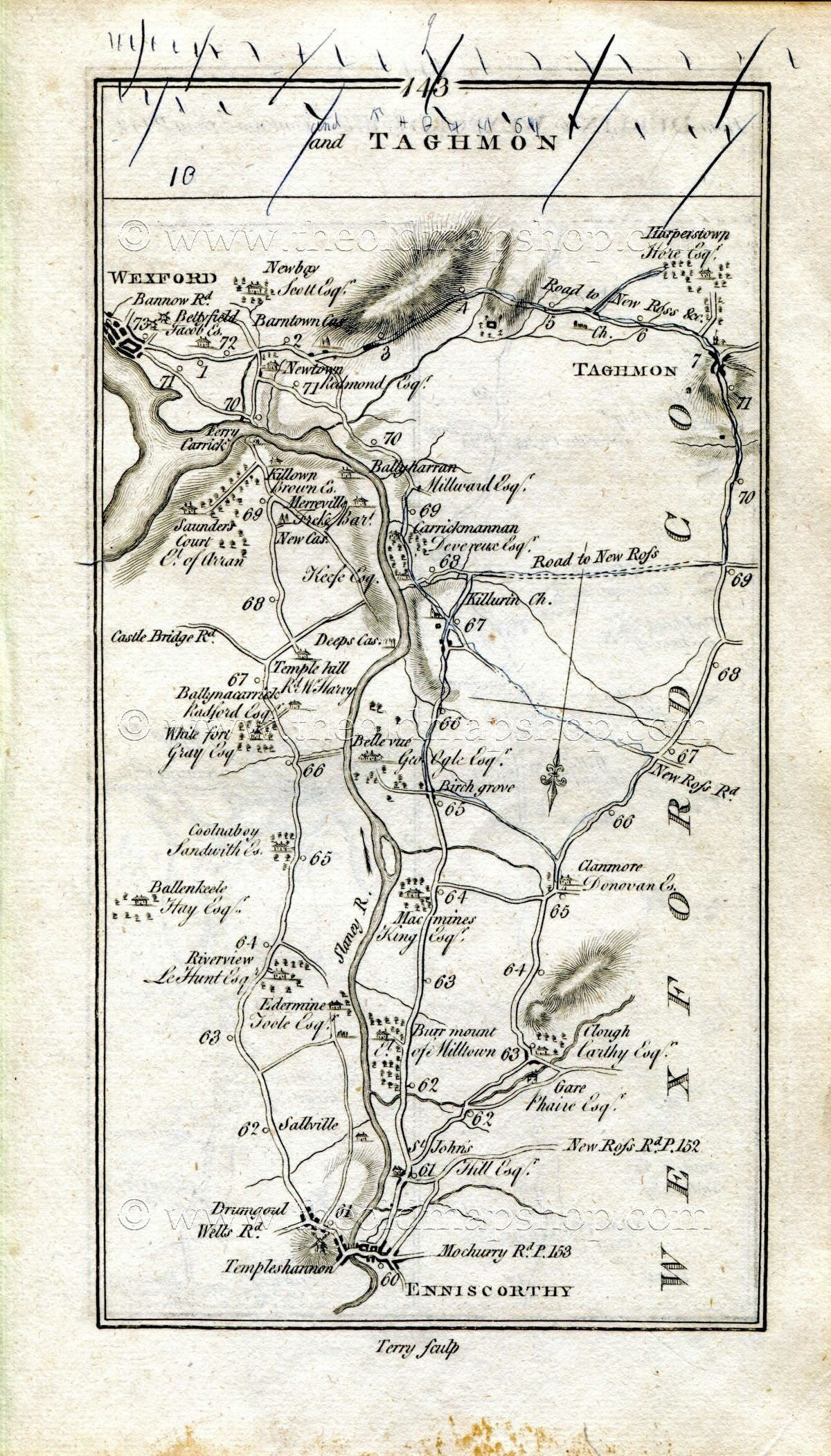 Map Of Ireland Roads.1778 Taylor Skinner Antique Ireland Road Map 143 144 Enniscorthy