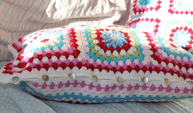 white base crochet with pink and red