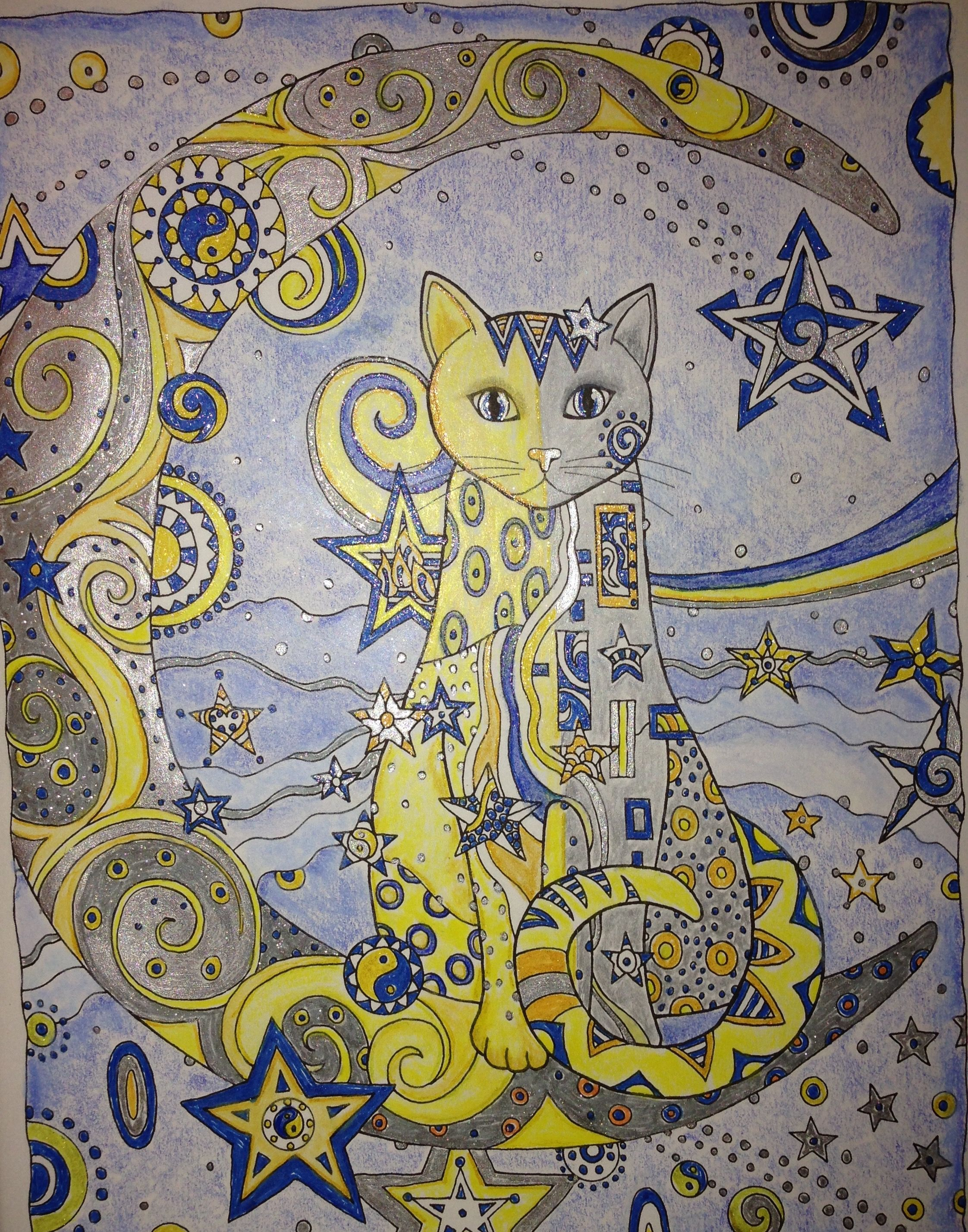 Starry starry cat colored by kate mcalister page is from
