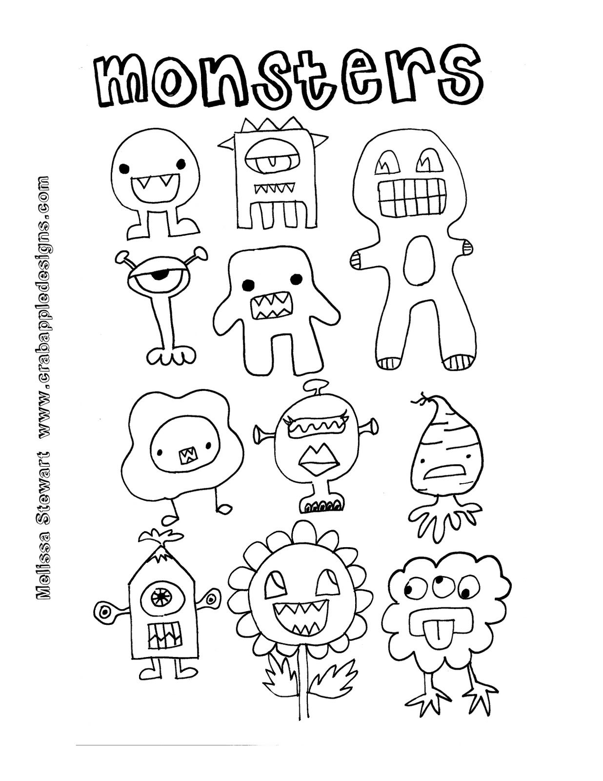Crab Apple Designs Free Coloring Page Day 5 Monsters Print On