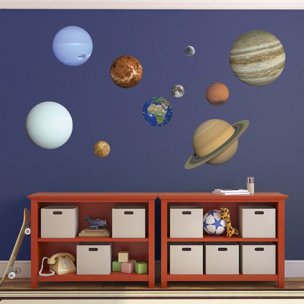 Planet Wall Decals. 9 Planets Plus Moon - Kids Educational Solar ...