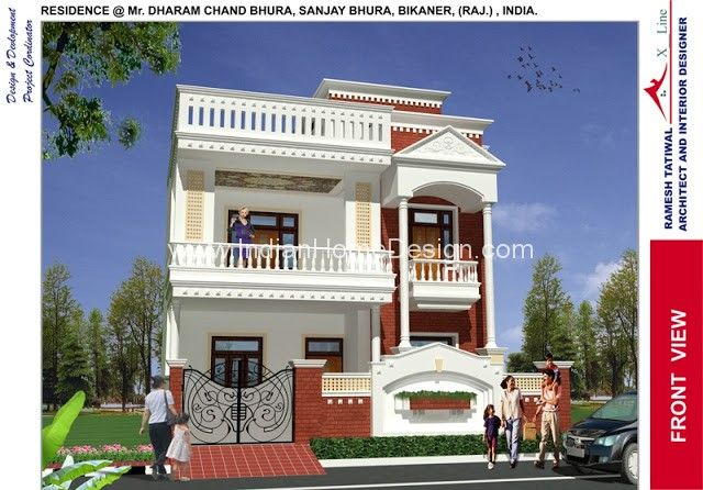 Modern North Indian Style Villa Design Dharam Chand Ji Front View11 Jpg 640 446 House Design Photos Simple House Design House Front Design