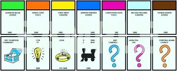 Monopoly Card Template Board Game Blank Property Cards Uk