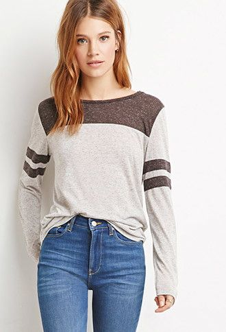 Heathered Varsity Stripe Top | Forever 21 Contemporary - 2000184682