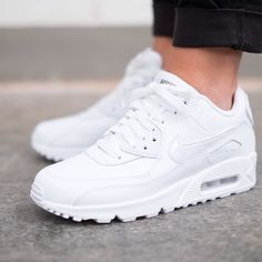 nike air max 90 all white leather womens