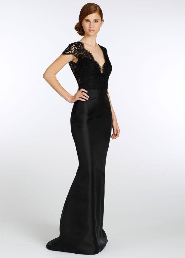 Lazaro black bridesmaid dress