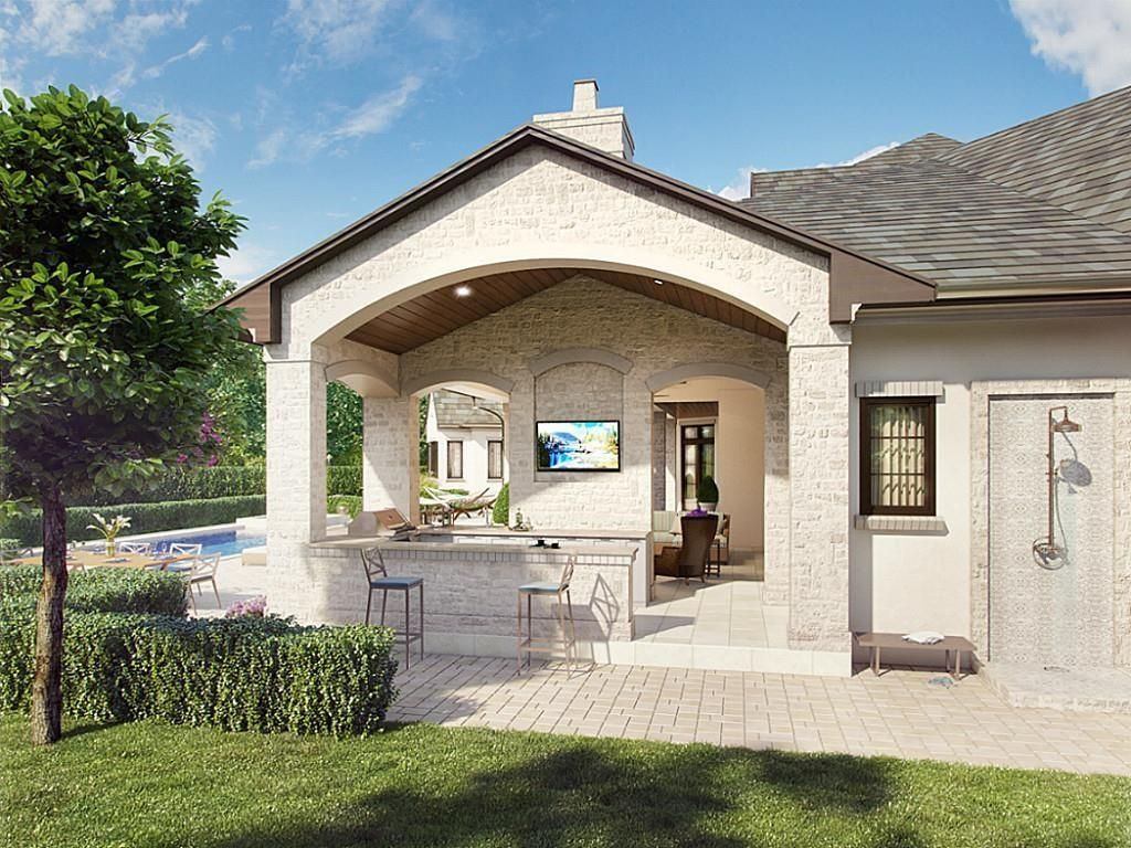 3 Thornblade Circle The Woodlands Tx 77389 Photo Rear Exterior Kitchen Rendering Backyard Oasis Zillow Homes Backyard