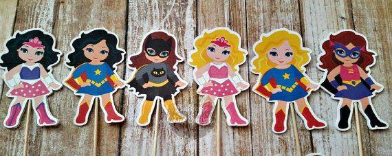 Chica super Cupcake Topper juego de 12 niña por ChampagneLCreation