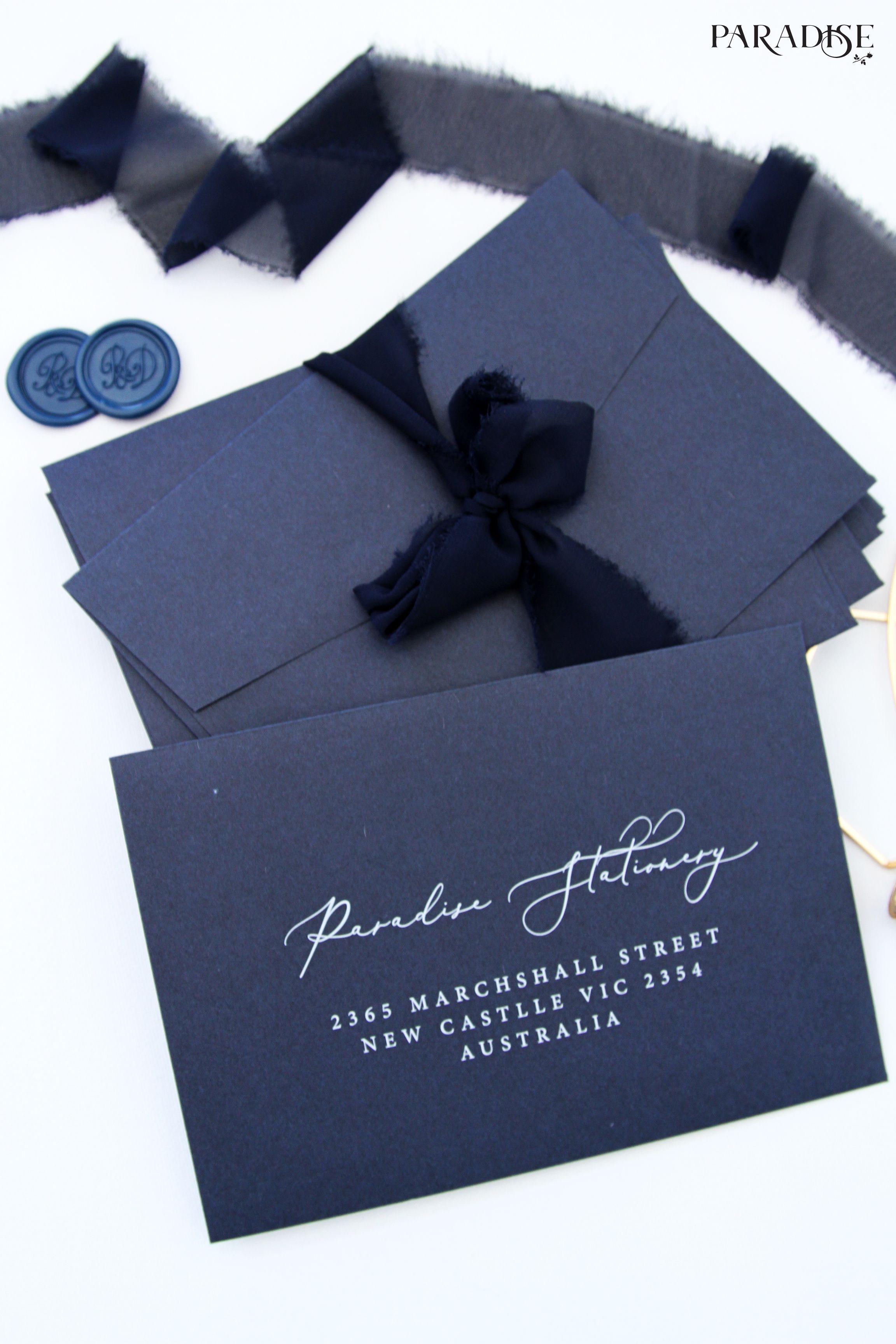 Navy Blue Envelopes White Ink Elegant Envelope Lace Ribbon Wax Seal Free Wedding Invitation Samples Wedding Envelopes Blue Envelopes