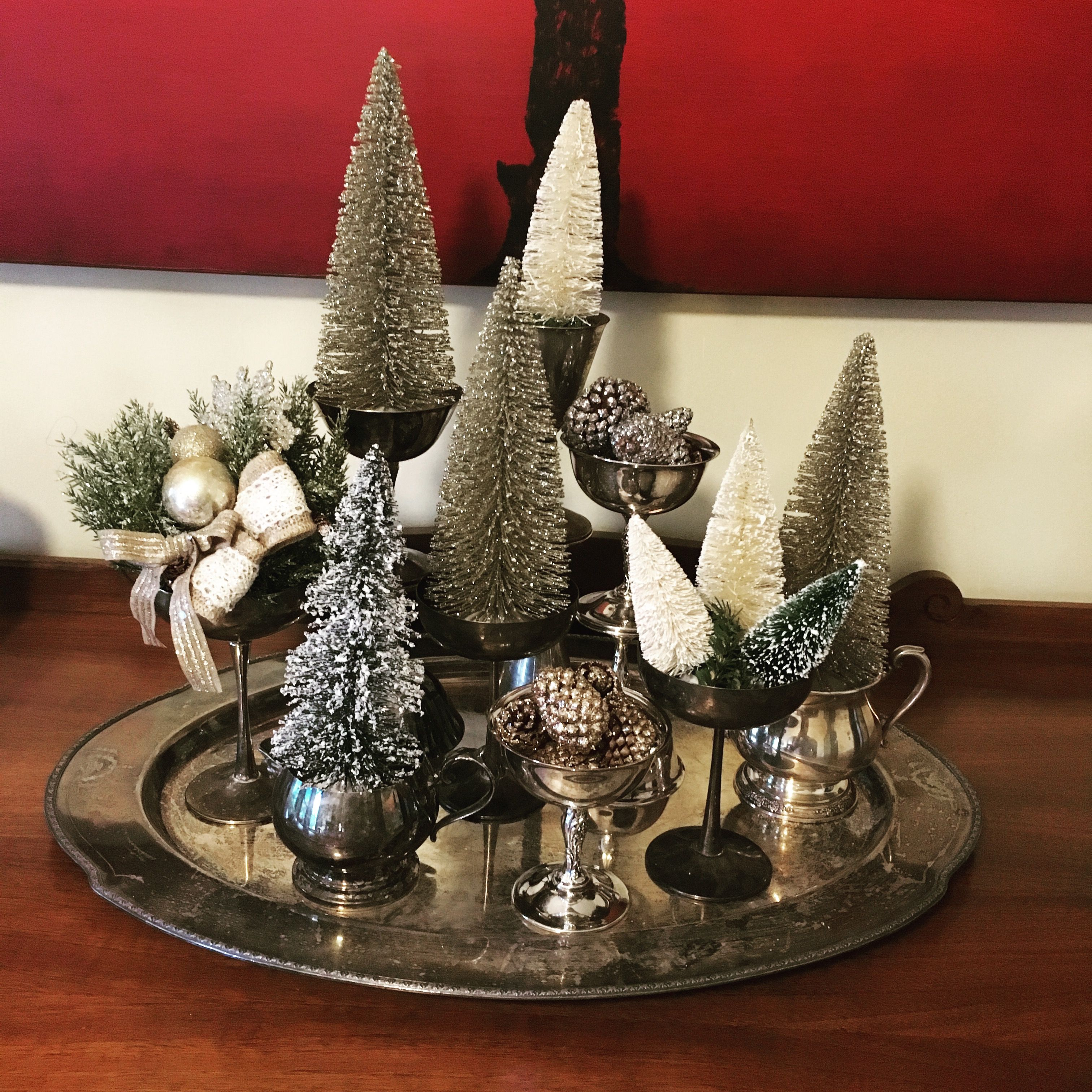 Vintage silver and bottle brush trees centerpiece. Home