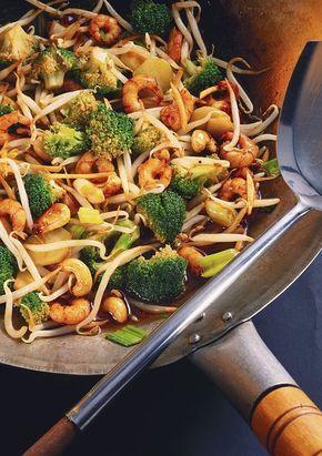 Gamberetti con broccoli e germogli di wok