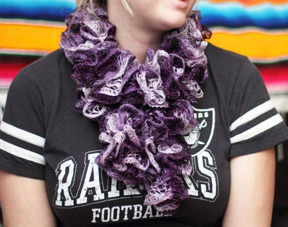 Boogie Crochet Scarf Violet Scarf Purple Scarf Ruffle by kidalia