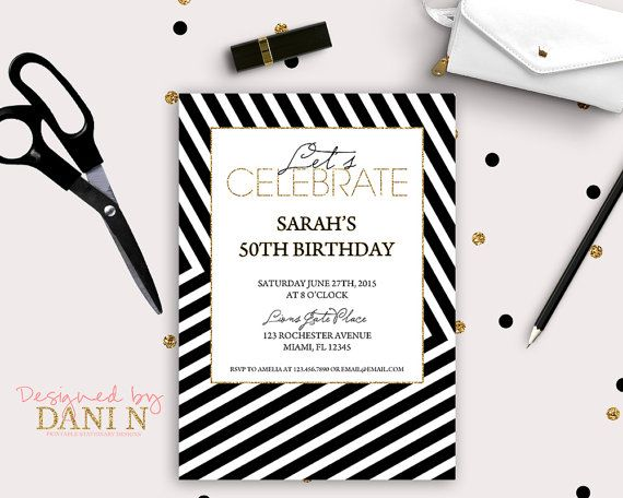 Elegant adult birthday invitation 50th invite black stripes gold elegant adult birthday invitation 50th invite black stripes gold glitter 30th birthday invite filmwisefo Images