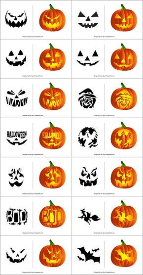 290+ Free Printable Halloween Pumpkin Carving Stencils, Patterns, Designs, Faces & Ideas #citrouilleenpapier
