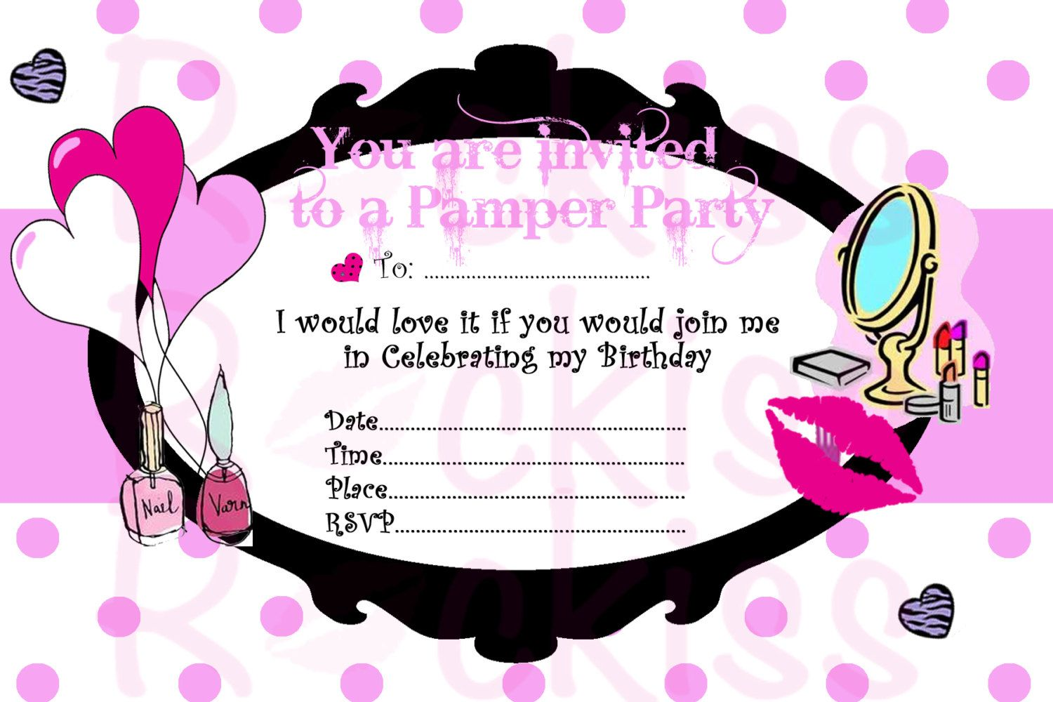Pamper Party Invitation- make-up party ready for an girls party ...
