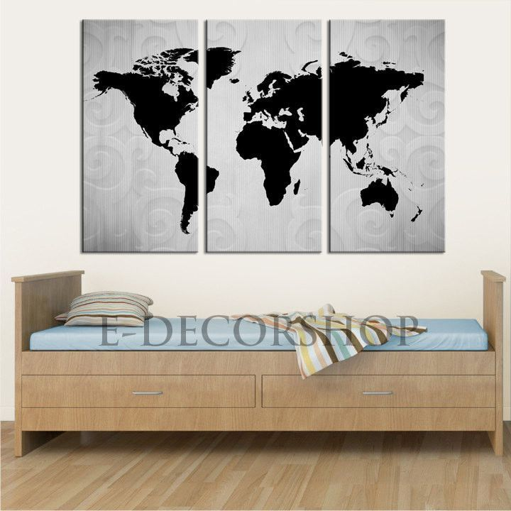 3 panel black white world map canvas art print world map canvas 3 panel black white world map canvas art print world map canvas printing for home and wall decoration gumiabroncs Choice Image