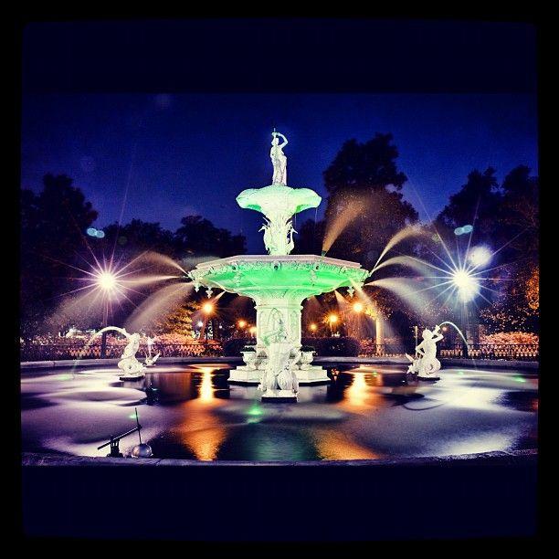 Night Shot Of The Forsyth Park Fountain Still Green From