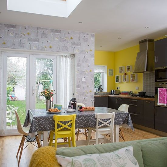 Living Room And Dining Room Together: Yellow And Grey Dining Room