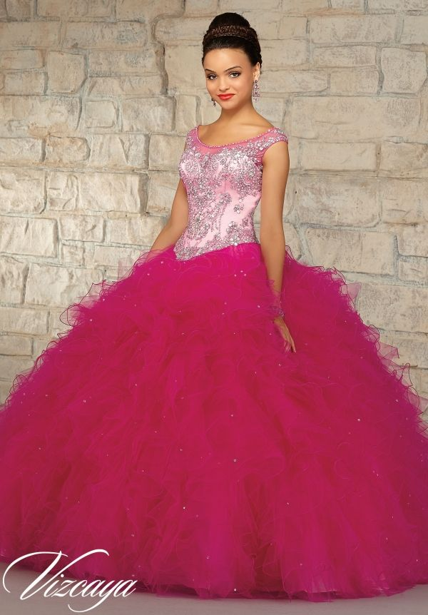501db5da7 89035 Quinceanera Gowns Two-Tone Embroidered and Beaded Bodice on a Ruffled  Tulle Skirt.